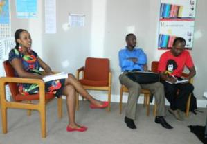 respectively Left to right: Ms Nadine, Mr William and Mr Prosper, from GLAPD Int, Uganda association of NSW and GLAPD