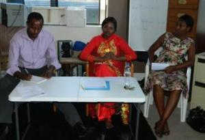 Right to left: Ms Liliane, Ms Francine and Mr Emmanuel, of Rwandan Community of NSW, GLAPD Int and GLAPD Int respectively